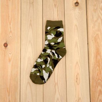 Family Friends party Board game 3 Pairs Camo Hunting CS Ankle Socks Soft Cotton Camping Crew Forest Stockings Cycling Bowling Camping Hiking Sock Military Green AT_41_3