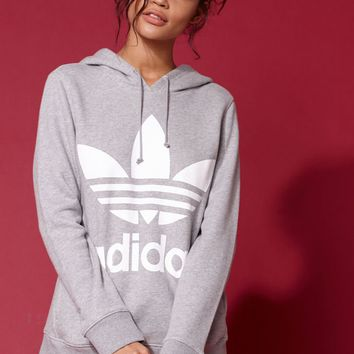 adidas Adicolor Heather Grey Trefoil Hoodie at PacSun.com