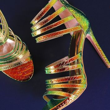 Holographic Snake Embossed Strappy Stiletto Heel