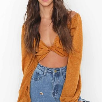 Toast Of New York Long Sleeve Plunge V Neck Twist Knot Tie Wrap Crop Top - 2 Colors Available