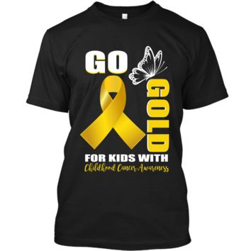 Childhood Cancer Awareness Shirt Go Butterfly-Gold For Kids Custom Ultra Cotton