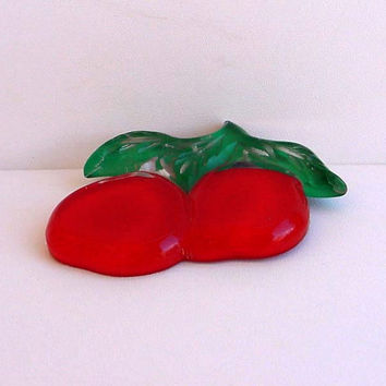 "Lucite Apple Pin Cherry Red 50s Carved Brooch 3"" Wide By 2 1/2"" Tall Modernism Vintage Costume Jewelry Reverse Painted Clear Green"