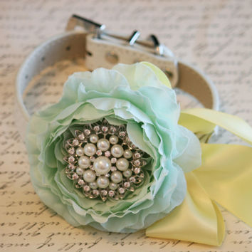 Mint and Yellow Floral Dog Collar, Mint Wedding Accessory, Pet Wedding Accessory, 2014 Wedding Color, Flower with Rhinestone