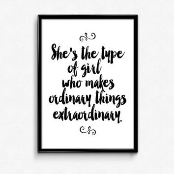 "printable art""she is""inspirational print,gift idea,best words,gift for her,instant download,black and white,typography art,home decor"