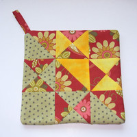 Pot Holder Star Light Star Bright Quilt Pieced Star With Flowers