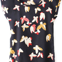 Black Round Neckline Short Sleeves Butterfly Print Shirt