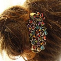 Lovely Vintage Jewelry Crystal Peacock Hair Clip:Amazon:Beauty
