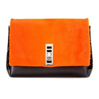 proenza schouler - ps elliot leather and fur clutch