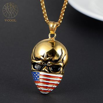 Free Shipping Cool United States Flag Pendant Gold Skull Chain Jewelry Stainless Steel Men Necklace Charm for US Patriot VP219