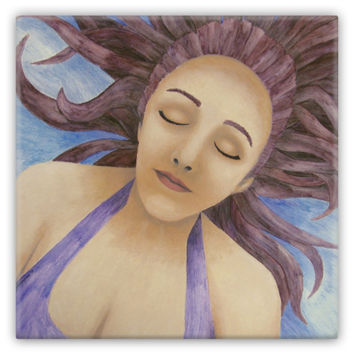 Water Goddess Floating - Metal Magnet of Acrylic Paint and Watercolor Pencil Fine Art