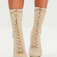 Missguided - Nude Corset Lace Up Pointed Boots