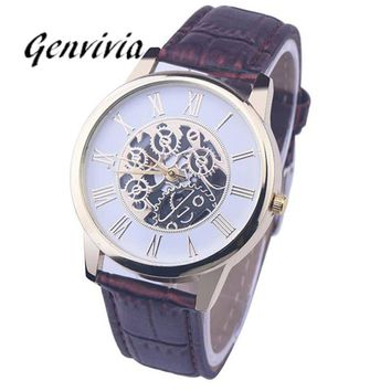 GENVIVIA Men Leather Mechanical Wristwatch 2017 Fashion Rome Digital skeleton dress wristwatch Analog Dial Quartz Wrist Watches