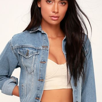 Good Day Light Wash Distressed Denim Jacket