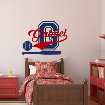 Wall Decals For Boys Name Sport Vinyl Decal Baseball Monogram Sticker Ball Kids Nursery Bedroom Decor T67