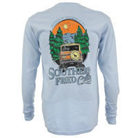 Mountain Calling Long Sleeve Tee Shirt in Chalky Blue by Southern Fried Cotton