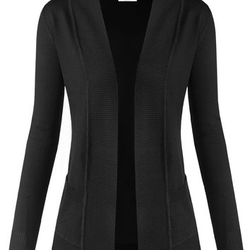 Ribbed Opening Long Sleeve Open Front Cardigan Sweater