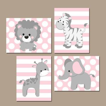 Baby Girl Nursery Wall Art, Pink Gray Nursery Decor, Elephant Giraffe Zebra Lion, Girl Safari Animals Decor, Canvas or Print, Set of 4