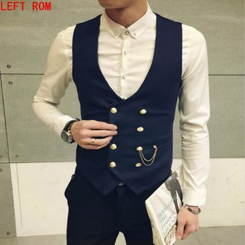 New Fashion Double Breasted Slim Chaleco Suit Vest M-5XL