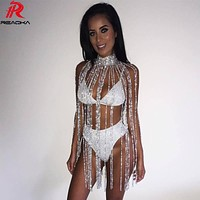 Novelty Sexy Metal Crystal Diamonds Chain Women Tassel Dress Gold silver Summer Sequins Luxury Night club party Dresses 2017 N
