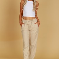Classic Linen Pants Taupe