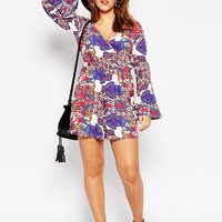 ASOS CURVE 70's Print Romper with Bell Sleeve