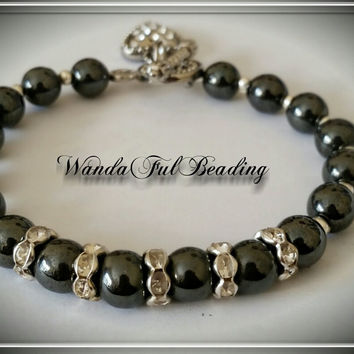 Black Hematite and Rhinestone Beaded Bracelet size 8 inches - $8.00 - Handmade Jewelry, Crafts and Unique Gifts by WandaFulBeading