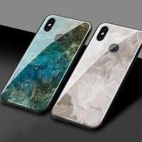 Luxury blue gold marble pattern Tempered Glass Silicone Cover Phone Case For Xiaomi Mi 6 Mi8 Explorer SE Mi Mix2 Mix2S Max3