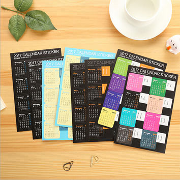 2 pieces Concise Cute Colored 2017 Calendar Stickers 9 2016-12 2017 Diario Binde Planner Slip Stickers Calendar Index Stickers