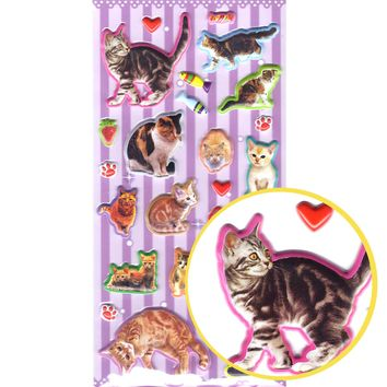 Realistic Kitty Cat Animal Shaped Photo Puffy Stickers for Scrapbooking and Decorating