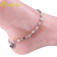 Women's Anklets Deal Bead Bracelet silver plum flowers foot anklet