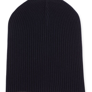 Cashmere Ribbed Hat with Fold-Over Brim, Navy, Size: