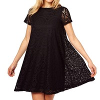 Short Sleeve Lace Cocktail Party Loose Princess Mini Dress