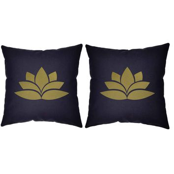 Metallic Gold Lotus Throw Pillows