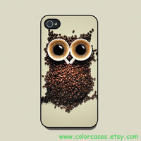 Owl and Coffee--iPhone 4 Case, iPhone 4s Case, iPhone 4 Hard Case, iPhone Case