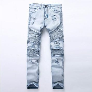 Ripped Rider Blue Moto Light Washed Denim