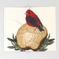 Bird on a Log Throw Blanket by Texnotropio