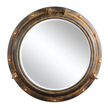 Waterside Round Metal Porthole Framed Wall Mirror -- Rust Finish 22-in