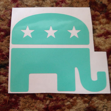 "3"" x 3.5"" Cute VInyl Republican Elephant Car Decal"