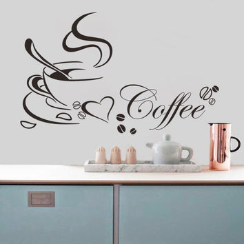 Coffee cup with heart vinyl quote Restaurant Kitchen removable wall Stickers DIY home decor wall art MURAL ping SM6