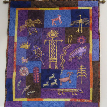 Purple, Blue and Gold Southwest Petroglyphs Art Quilt Wall-Hanging