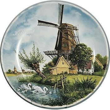 Collectible Plates Windmill Holland Swan Color