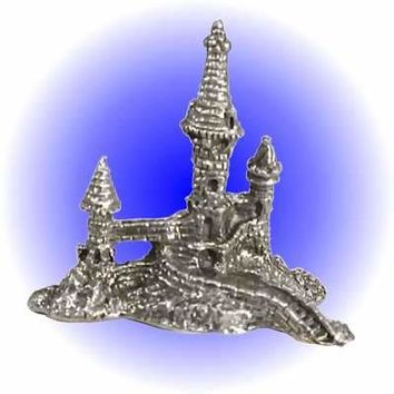 Castle Tower with Moat Pewter Figurine  Lead Free.