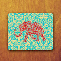 Bali Lace Flower Pattern Elephant Mouse Pad Emerald Mint Scrolling illustrator Design Mousepad Office Decoration Boss Gift Personalized