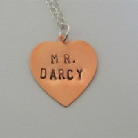 Mr. Darcy Copper Heart Necklace, Hand Stamped Pride and Prejudice Pendant