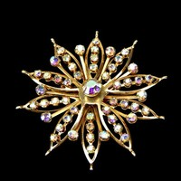 Large Rhinestone Star Brooch AB Finish in Gold Tone Riveted Stones