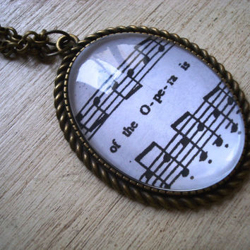 Phantom of the Opera sheet music necklace