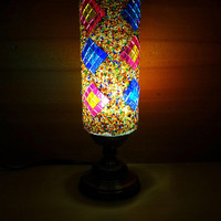 Unique handmade colourful authentic cylindrical glass mosaic bedside lamp, bedroom night lamp, colourful table lamp, desk lamp.