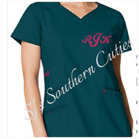 Monogram Scrub Top,  Monogram Nursing Scrub Top