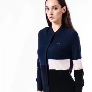 Lacoste Women Fashion Wool Top Sweater Cardigan