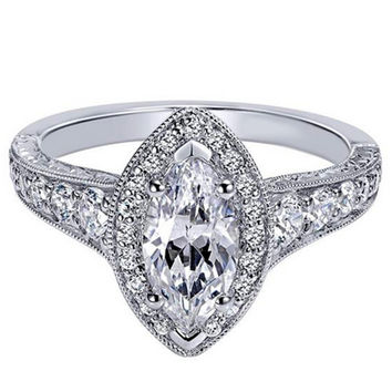 "Ben Garelick Royal Celebrations ""Kayla"" Marquise Cut Diamond Halo Engagement Ring"